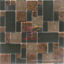Copper Color Rose Pattern Stainless Steel with Glass Mosaic (CFM904)