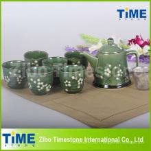 Service à thé peint à la main en grès