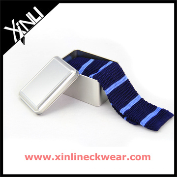 Silver Metal Packaging Knitted Silk Tie Modern Neckties Gift Box Set
