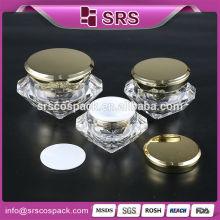 Emballage cosmétique à la beauté et à la crème glacée unique en forme de diamant 5g 15g 30g 50g Vente en gros Gâteau vide acrylique magnifique en bocaux