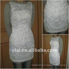 JJ2699 Бесплатная доставка Новый бисером кружева короткое свадебное платье