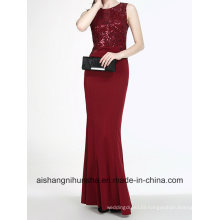 Robe Wine Red Evening Dress Handmade Sequins Elegant Evening Gown