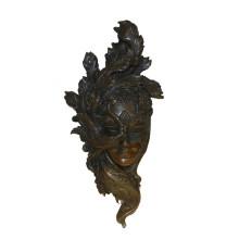Relievo Brass Statue Female Mask Deco Bronce Escultura Tpy-884