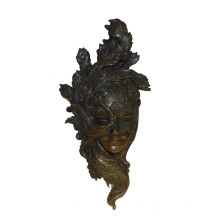 Relievo Brass Statue Female Mask Deco Bronze Sculpture Tpy-884