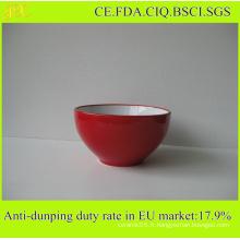 Bol en céramique fourni par China Factory, Vente en gros Bol à salade Intérieur Blanc Extérieur Rouge