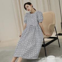 High Waist Printed Fashion MID-Length Skirt Puff Sleeve Dress