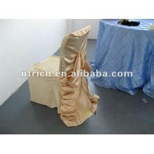 Cubierta de la silla del satén boda con diseño de volantes