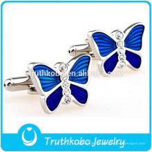 F-C0018 Linda Azul Borboleta Abotoaduras de Cristal Brilhante Material de Aço Inoxidável Mais Popular Abotoaduras De Casamento De Prata