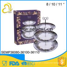OEM заказов Добро пожаловать 3 слоя круглый меламина обеденная тарелка комплект