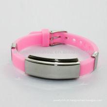 2014 pulseira de silicone rosa silicone pulseiras de energia