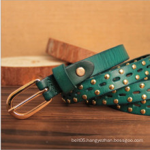 leisure leather lady brand belt with rivet