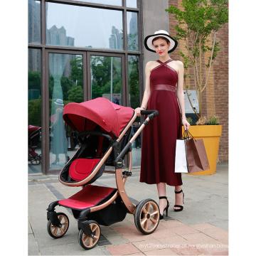 Carrinhos de bebê fáceis de dobrar com um grande cesto de compras