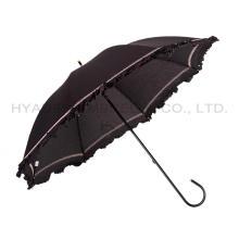 Romántico encaje con volantes mujer recta paraguas
