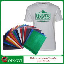 Vin de transfert de chaleur de glitter de QingYi pour le T-shirt
