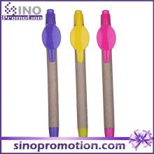 Bolígrafo promocional de eco-amigo con la impresión de la insignia del clip