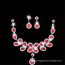 Red Royal Crystal Beaded Fashion Necklace With Ear Ring