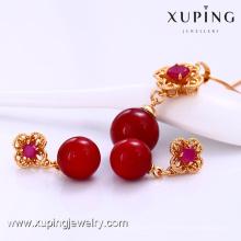 61895 moda pérola mulheres jóias conjunto de jóias, 18 K banhado a ouro conjunto de jóias