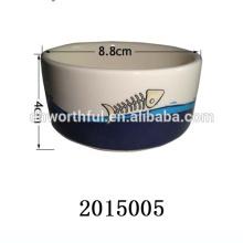 High quality fish print ceramic cat feeder