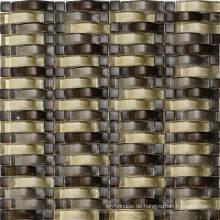 Wave Gold Mosaik Wandfliese, Glas Mosaik