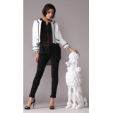 Pretty Steps 2017 new fashion design jacket elegant white color jacket for lladies