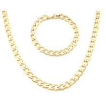 Aço inoxidável ouro colar de jóias de moda set