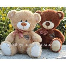 urso de pelúcia bebê com arco e coração vermelho embroideried no peito direito