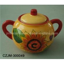 Azucarero de cerámica con dos mangos
