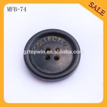 MFB74 Botones de la ropa de la resina plástica del negro del tamaño diferente de encargo