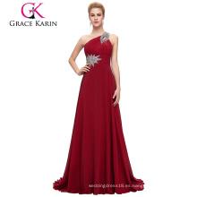 Grace Karin Moda rebordeado un hombro rojo oscuro vestido de fiesta de gasa largo CL2949-7