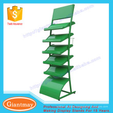 high quality customized unique 5 shelves wave style floor standing grass display rack