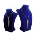 Pop Blue Flock MDF Necklace Display Stand Wholesale (NS-BLU-F48)
