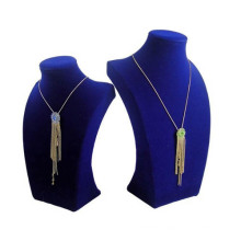 Pop Blue Flock MDF Necklace Display Stand Wholesale (NS-BLU-F48)