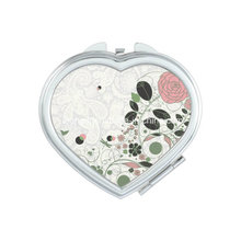 Rustic Style Heart Rose Gift Travel Cosmetic Mirror