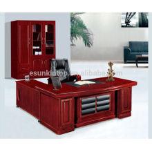 Secretária de escritório de móveis de escritório de madeira com painel frontal de couro