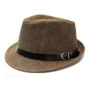 Sombrero superior redondo marrón de los hombres con correa