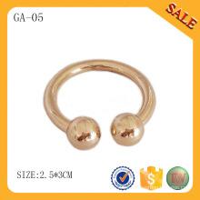 GA05 Accesorios de ropa etiqueta redonda de oro redondo para ropa