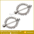 Círculo de gemas de aço cirúrgico 316L do escudo de anel de mamilo de vida