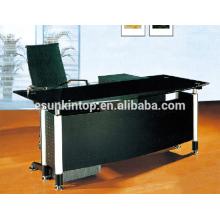 Bureau de bureau en forme de L avec des designs en verre, Mobilier de bureau de haute qualité pour une qualité élevée! (P8060)