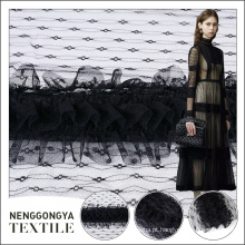 Mais recente moda high-end preto bordado chiffon tecido tule atacado