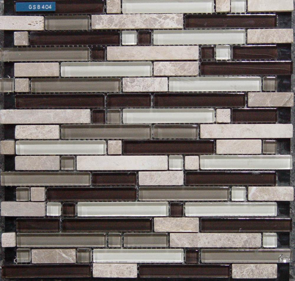 Strip Glass Stone Mixed Mosaic Tile
