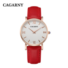 Cagarny Leather Watch with IP Gold Plated 4roman Letters on Dial