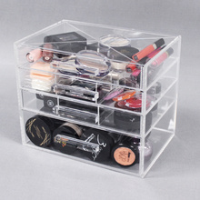 Acryl make-up organizer laden met scheidingslijnen