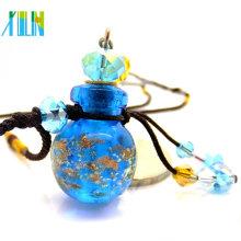 pingentes de vidro azuis da garrafa de perfume da poeira de ouro da jóia da forma