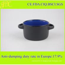 Bol en céramique de 300 ml avec doubles supports, bol de soupe en grès