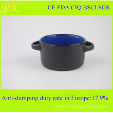 300ml Keramikschale mit doppelten Haltern, Steingut Suppe Schüssel