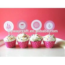 Venda por atacado mini pingentes adoráveis de cupcake de papel princesa adorável / cupcake toppers para festa de aniversário