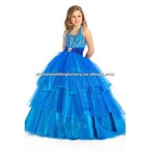 Halter azul elegante backless muchas cuentas con la cintura plisada niña vestidos de flores CWFaf4227