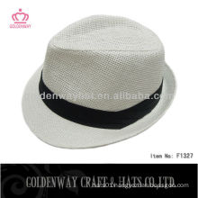 promotional cheap Men White Fedora Hat