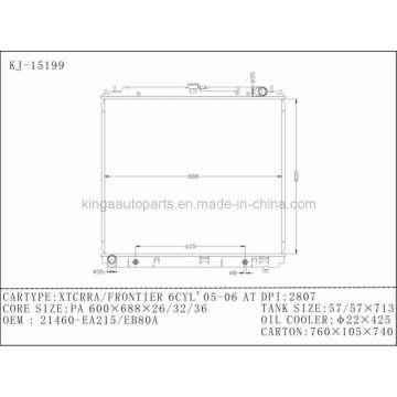 Autokühler für Nissan Xtcrra / Frontier 6cyl 05-06 at