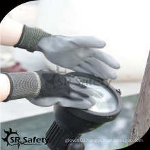 SRSAFETY labour glove/13G black PU dipped tear-resistant working glove